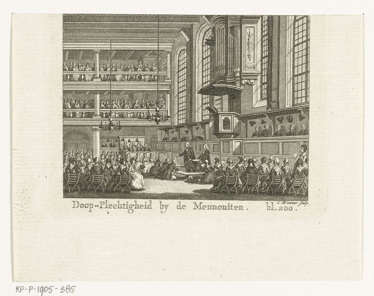 Cornelis Brouwer | Interieur van Doopsgezinde kerk Bij 't Lam tijdens de bediening van de doop, Cornelis Brouwer, unknown, 1780 - 1790 | Het interieur van de Doopsgezinde kerk Bij 't Lam tijdens de bediening van de doop. Boven de preekstoel het in 1777 voltooide Strumphler-orgel.