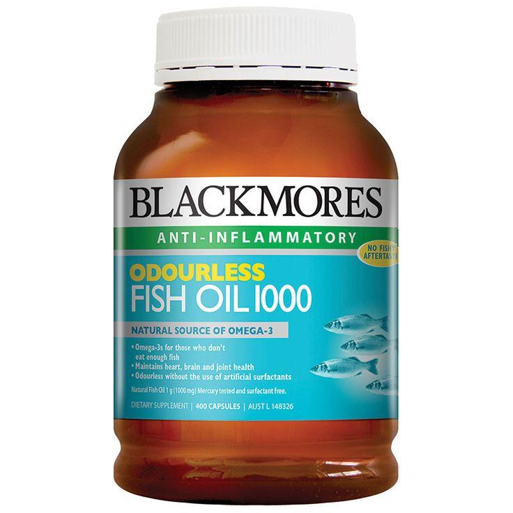 Blackmores Odourless Fish Oil 1000mg - 400 kapsul. Berkhasiat menurunkan kolestorel, menjaga kesehatan jantung, mata dan otak. Dikonsumsi 1x sehari. Harga Rp  434.000,- di luar ongkir TIKI/JNE. Ready Stock!