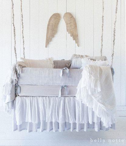 Bella Notte- Valentina Baby Blanket,Crib Dust Ruffle. BELLA NOTTE baby – Scandia Down MN