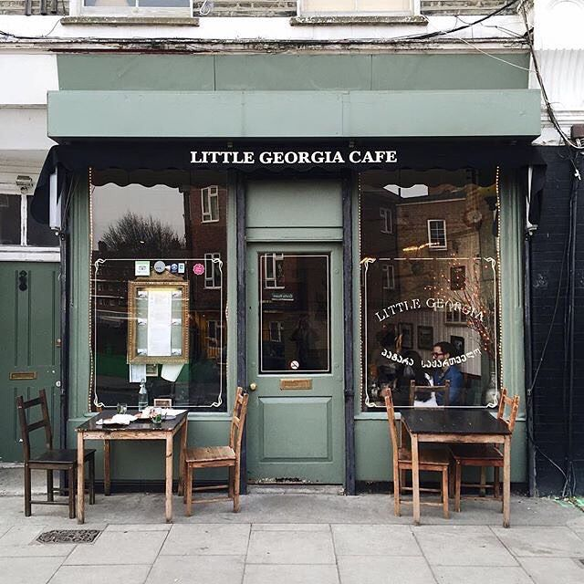 Little Georgia Cafe in East London, between Hackney City Farms & Broadway Market walking north from Hackney Road on Goldsmiths Row.