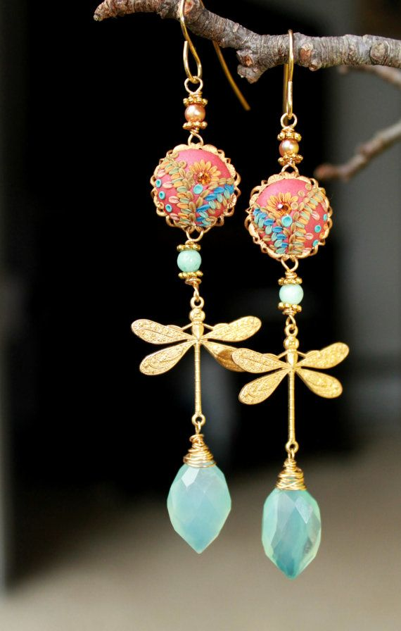 Reserved- Peru Opal Chalcedony jewelry, Amazonite,golden pearl, clay floral on Vintage filigree dragonfly gold earrings - The DragonFly Gala.