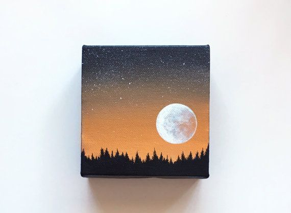 Nachthimmel III | Ursprüngliche Acrylmalerei | 4×4 Zoll | Von Janelle Anakotta …