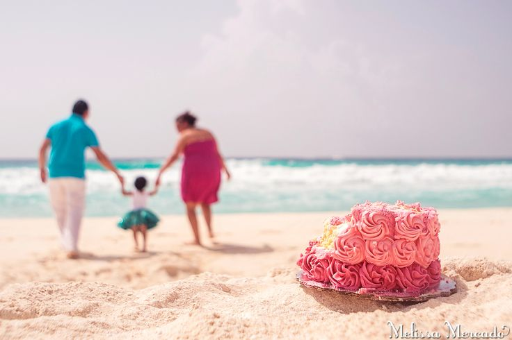 birthday cake smash on the beach! baby flower crown, blue lace tutu and pink ombre rose birthday cake