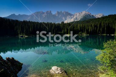 Karersee (Carezza Lake) Royalty Free Stock Photo