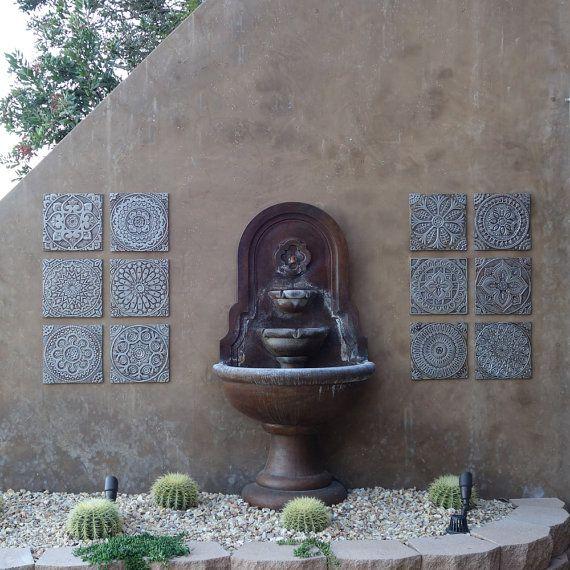 moroccan ceramic art set of 4 tiles wall tiles with moroccan design decorative tile ceramic art hand painted tile silver - Matchstick Tile Garden Decoration