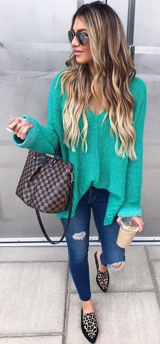 #fall #outfits  women's green cardigans and blue distressed jeans