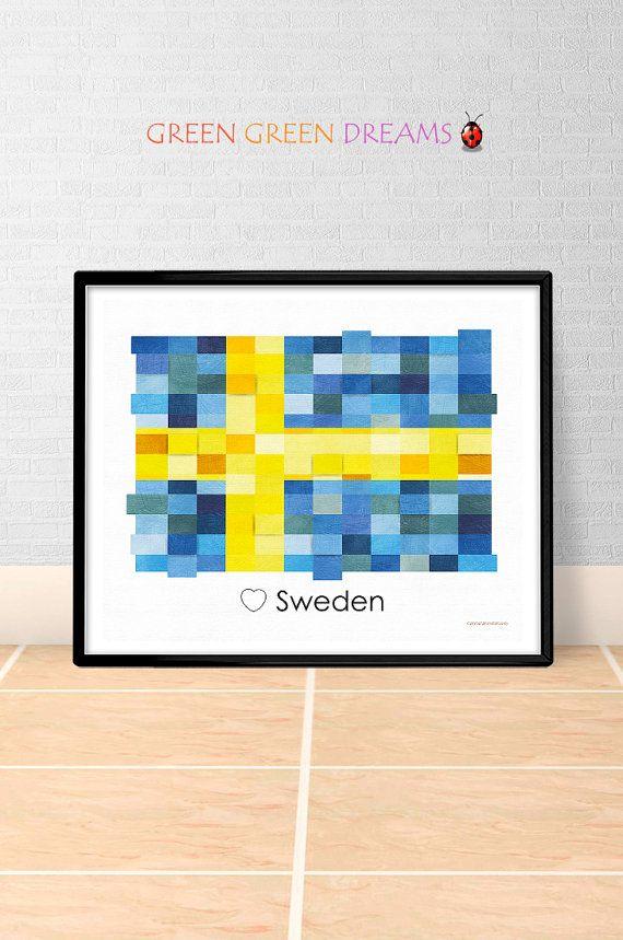 Sweden Flag Print Poster Wall art Sweden Europe flags Sweden printable download Home Decor Digital Print gift GreenGreenDreams