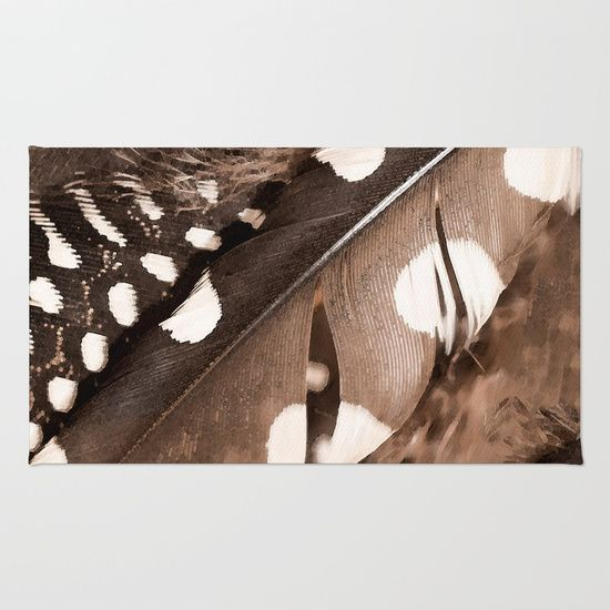 Beautiful Feathers On A Dark Brown Background #decor #buyart #society6 Rug