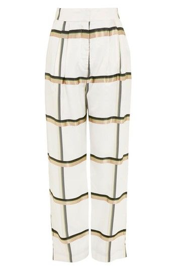Free shipping and returns on Topshop Boutique Checked Wide Leg Twill Trousers at Nordstrom.com. An oversized check print with a subtle glossy luster adds standout style to these breezy pleat-front pants.