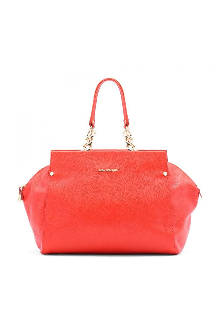 Daywear handbag with double leather handles.