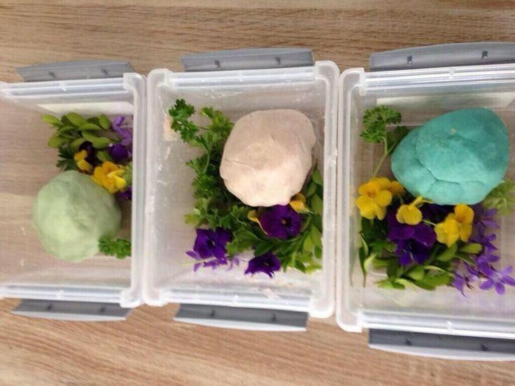 Recept zelfgemaakte speelklei: 400 gr bloem, 200 gr zout, 3eetl slaolie, 1afgestr eetl aluinpoeder(drogist), door elkaar, 450 ml kokend water erbij, mixen met mixer. Dan met hand doorkneden. Voedingskleurstof of bietensap voor kleurtje. Drupje etherische (lavendel,rozen)olie voor lekker geurtje.