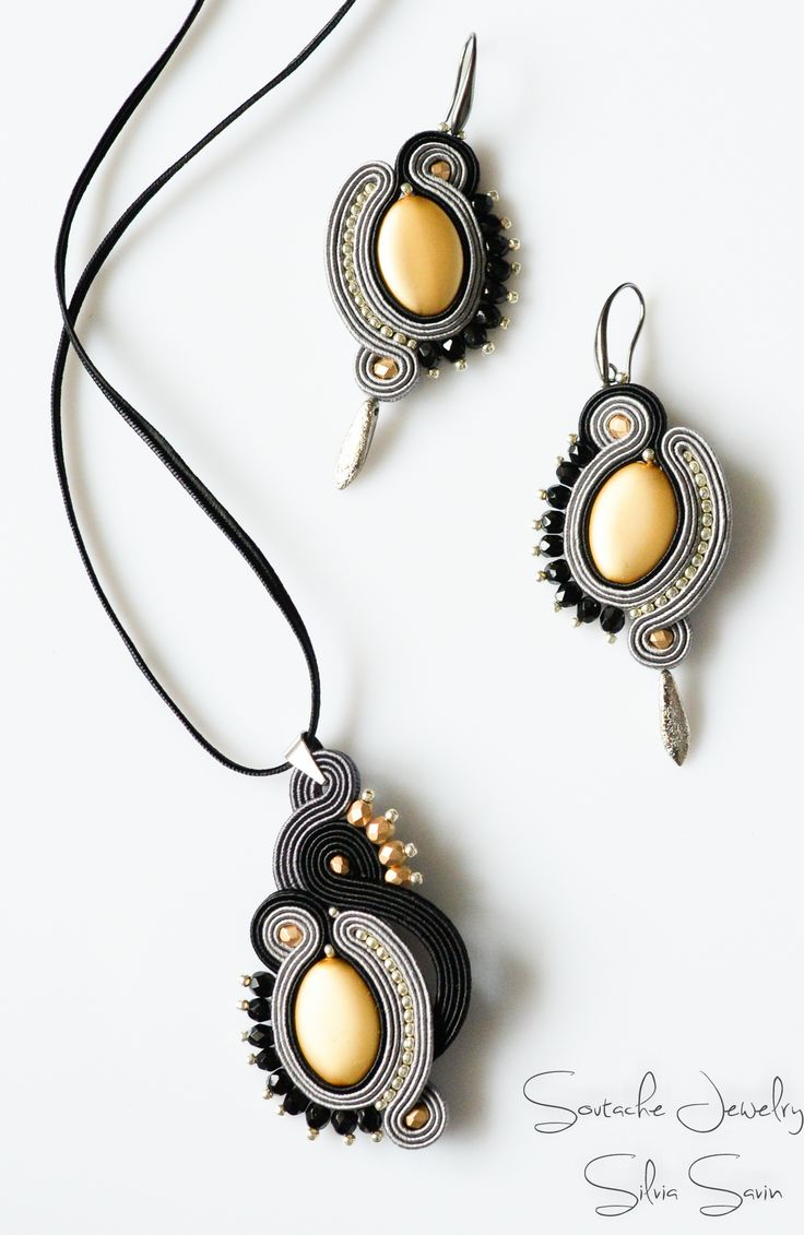 Grey / Gold / Black Handmade Soutache pendant and earrings