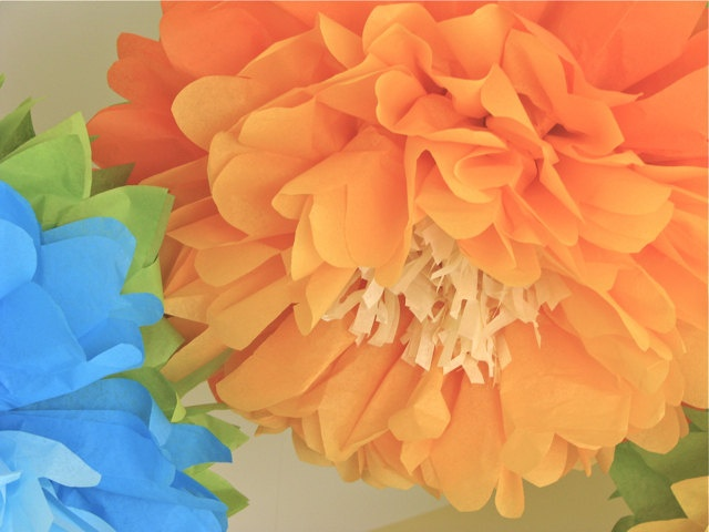 Wonderland in Bloom - 5 Giant Hanging Paper Flowers - 18-20 inch - Flower Series Party Blooms by Whimsy Pie. $32.50, via Etsy.