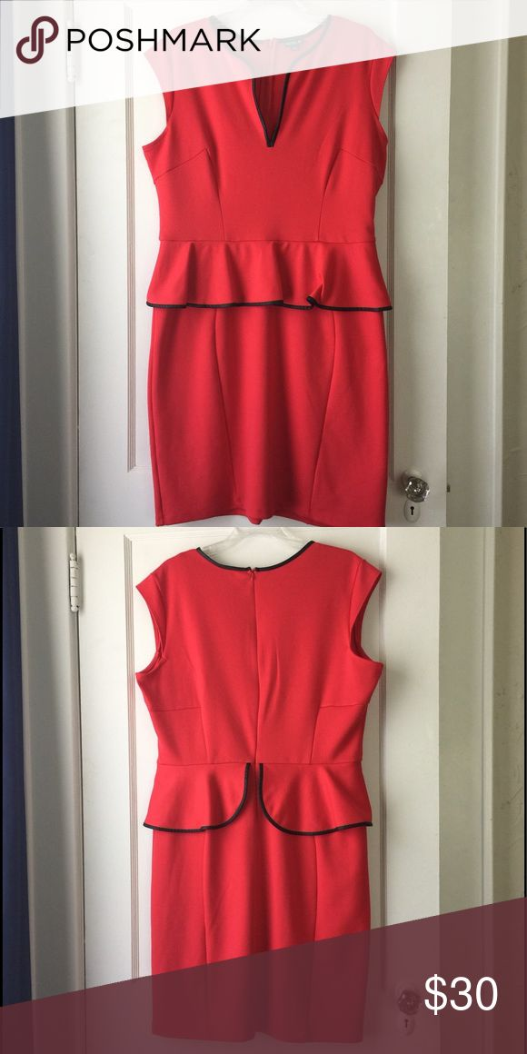 Red Peplum Dress - Cap Sleeves Stunning red peplum dress with black leather like trim. This is a deep vneck, so the girls get some attention :) this peplum hits at your waist. ABS Allen Schwartz Dresses