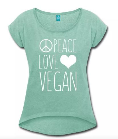 Peace Love Vegan Icons Women T-Shirt #vegan #veganfashion #veganquote #fashion