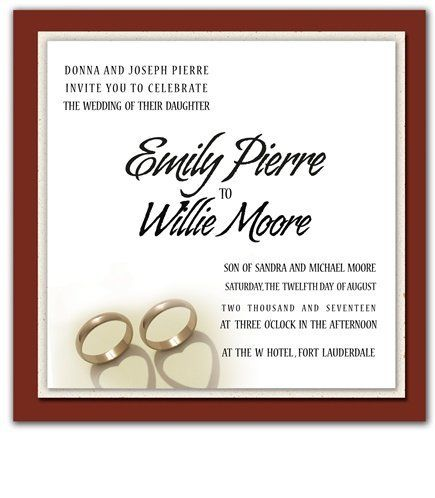 255 Square Wedding Invitations - Cherish Ring Hearts by WeddingPaperMasters.com. $637.50. Now you can have it all! We have created, at incredible prices & outstanding quality, more than 300 gorgeous collections consisting of over 6000 beautiful pieces that are perfectly coordinated together to capture your vision without compromise. No more mixing and matching or having to compromise your look. We can provide you with one piece or an entire collection in a one ...