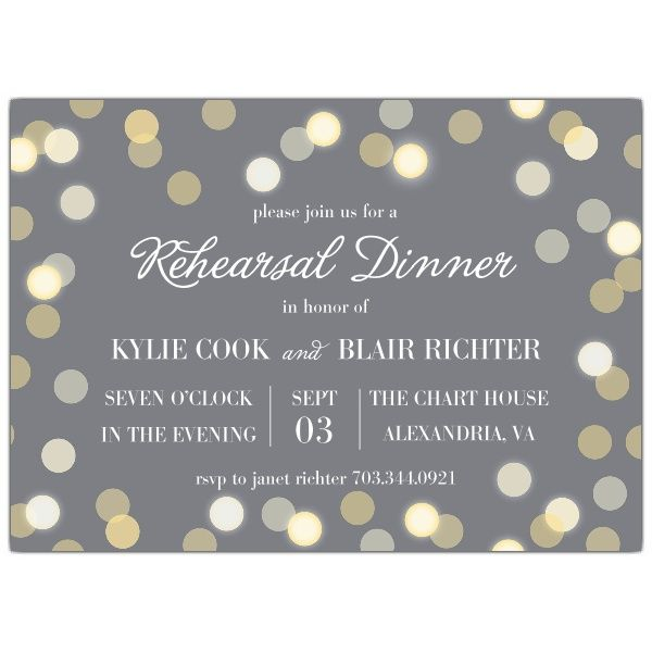 Twinkle Lights Grey Rehearsal Dinner Invitations