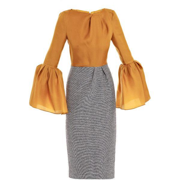 Roksanda Ilincic Margot lantern dress (47.770 RUB) ❤ liked on Polyvore featuring dresses, navy and white dress, boat neck dress, pleated dress, tight long sleeve dress and woven dress