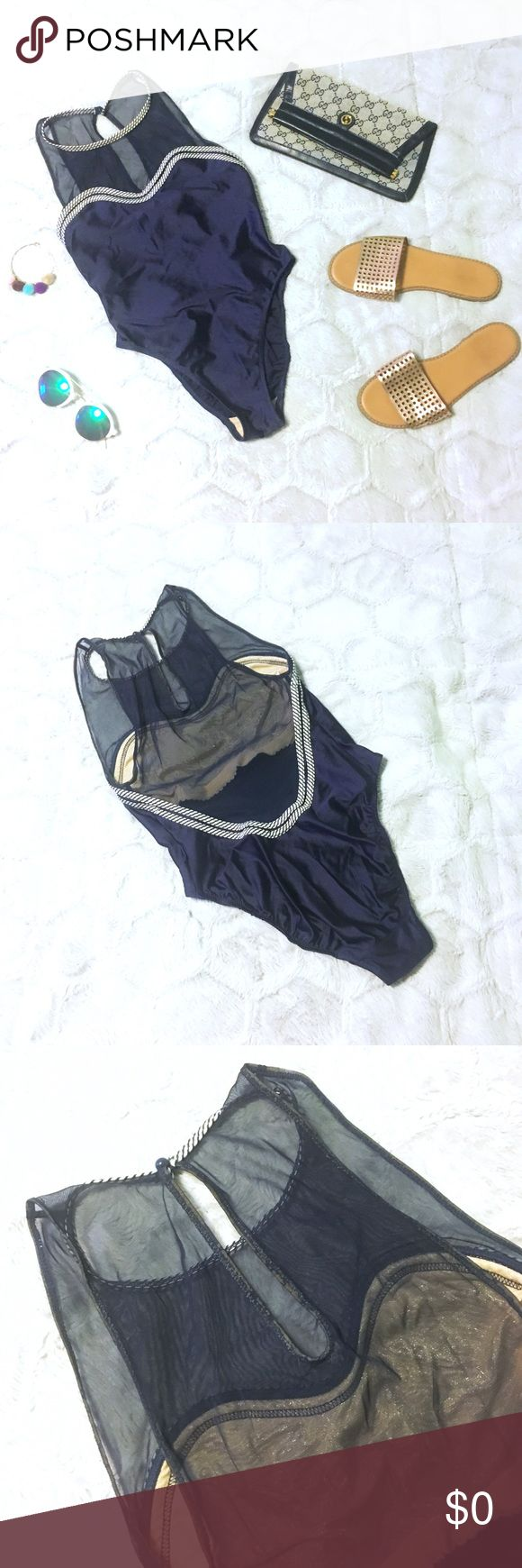 "Vintage Mesh Illusion Back One-Piece Swimsuit 👙 Vintage Gottex swimsuit in size medium petite. Tag is worn and no longer legible. Measures 26"" across bust unstretched, bust stretches to 32"", approx. 25"" from shoulder to crotch. Front clavicle and top back have a sheer mesh fabric. Trimming around neckline, bust and back waist have a striped detail. Elastic around armholes and back keyhole is worn and has started to separate (see pics). Please ask questions and feel free to bundle with other…"