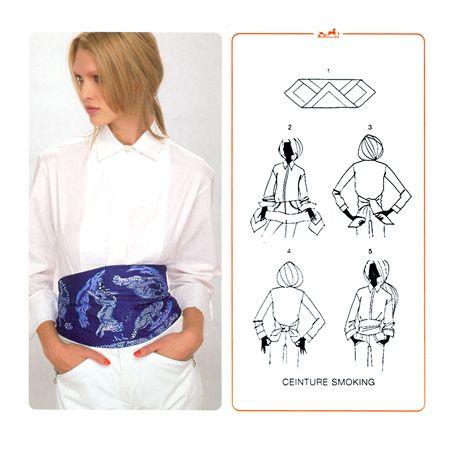 foulard hermes come cintura a vita alta da smoking
