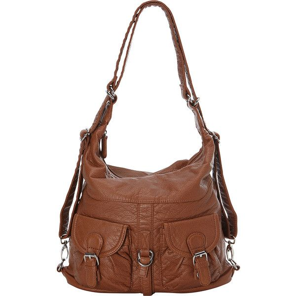Ampere Creations Janey Jane Convertible Crossbody Backpack ($32) ❤ liked on Polyvore featuring bags, backpacks, brown, handbags, manmade handbags, convertible backpack, convertible crossbody backpack, brown backpack, hobo backpack and hobo crossbody bag