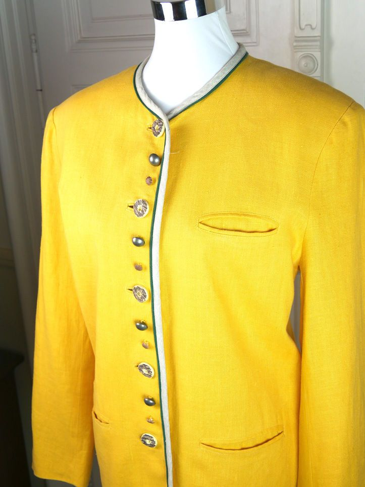 German Vintage Blazer, Women's Yellow Linen Traditional Blazer, Yellow Trachten Jacket, Der Wildschütz Trachtenmode: 10-12 (US), 14-16 (UK) by YouLookAmazing on Etsy