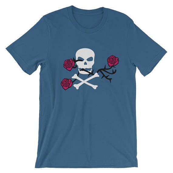 Skull T-Shirt  Skull and Roses T-Shirt