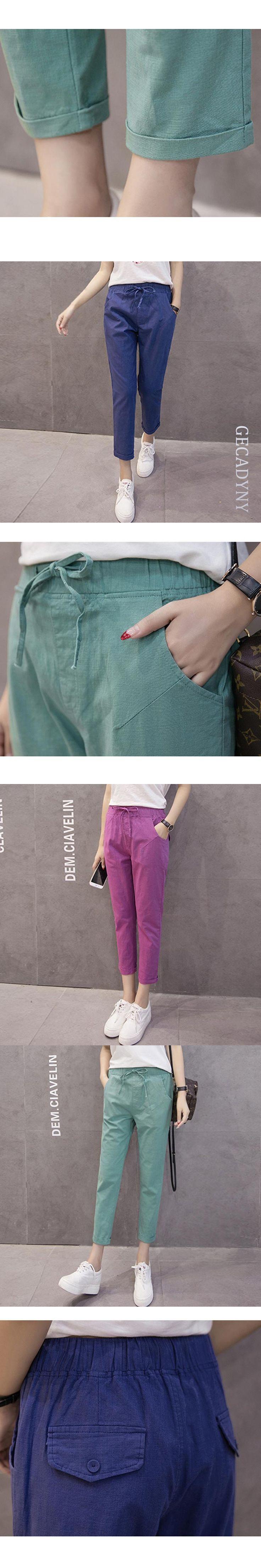 Women Cotton Linen Pants Girl Trousers Female Capris S/M/L/XL/2XL/3XL Wholesale Lady  Candy Colors Harem Pants Casual Trousers