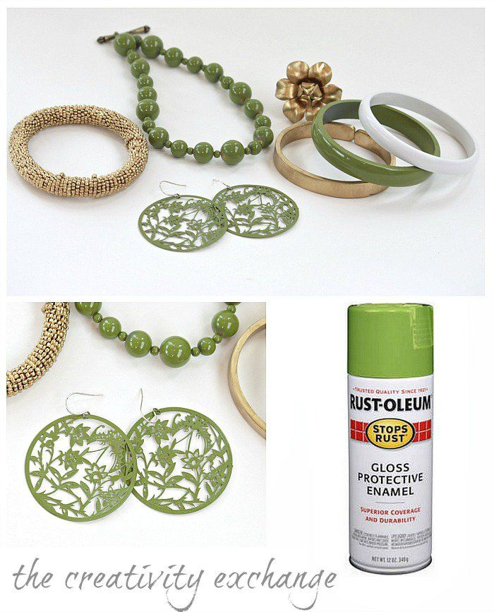 tutorial for transforming old junk jewelry with enamel spray paint from The Creativity Exchange