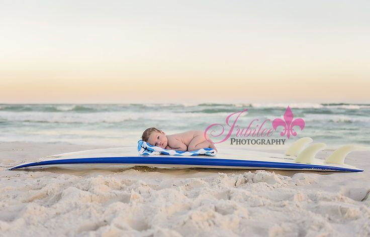 Destin Newborn Photographer, Beach Newborn Photography, baby on surf board