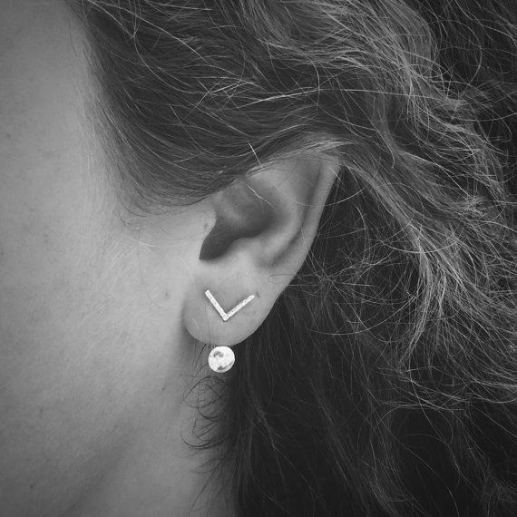 Floating Silver Dot Ear Jacket & Tiny Sparkle Chevron Stud Earrings Combo - Sterling Silver - Set of Studs and Jackets - Front Back Earrings