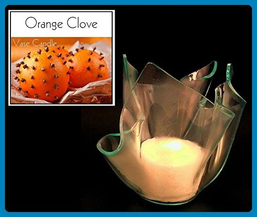 3 Orange Clove Candles and 1 Clear Satin Vase - Scented, Soy, Paraffin Wax Blend, Paper Core, Self-trimming Wick Candle and Refillable Vase, 150 Hour Burn Time, Free Shipping - Wedding candles and holders (*Amazon Partner-Link)