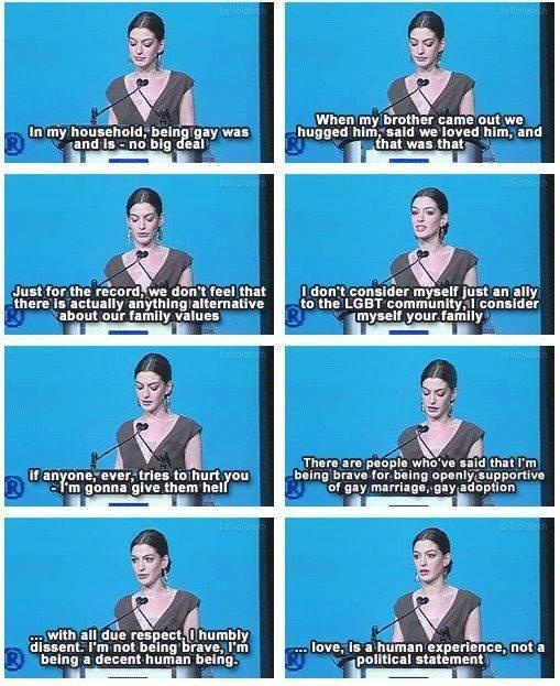 """Anne Hathaway on gay marriage and equality, and love. """"Love is a human experience, not a political statement"""" - uh yeah!!! That was perfectly phrased!!!"""