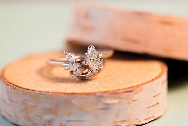 Stacked Engagement Ring, Marquise Diamond, Creative Photo