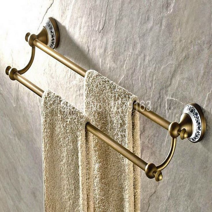 Make Photo Gallery Antique Brass Ceramic Base Bathroom Accessory Wall Mounted Double Towel Bar Towel Rail Rack Holder Bathroom