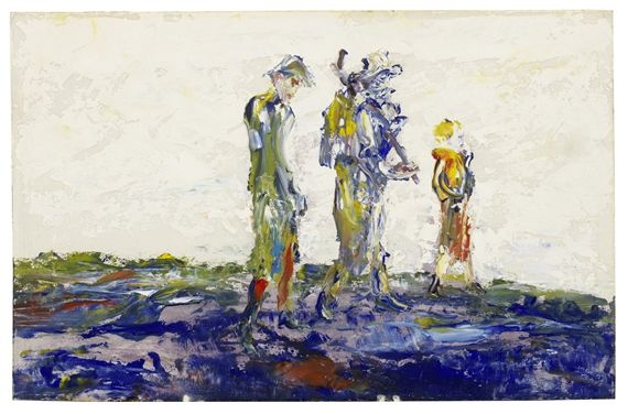 Artwork by Jack B. Yeats, Single File, Made of oil on board