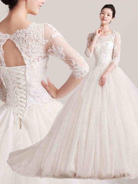 ウェディングドレス プリンセス タンクトップ コートトレーン 半袖 レース 挙式 ブライダル 結婚式 B14TB0056 価格 ¥80,262