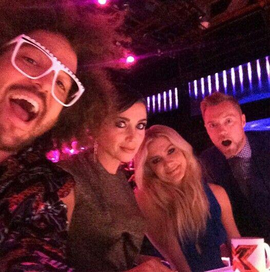 Redfoo,  Dannii Minogue,  Natalie Bassingthwaighte, Ronan Keating. Xfactor Australia Live Show 5. (credit @redfoo)