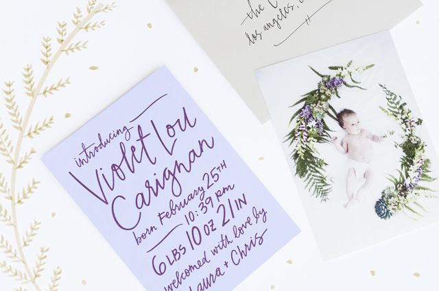 Violet's Hand Lettered Birth Announcements /