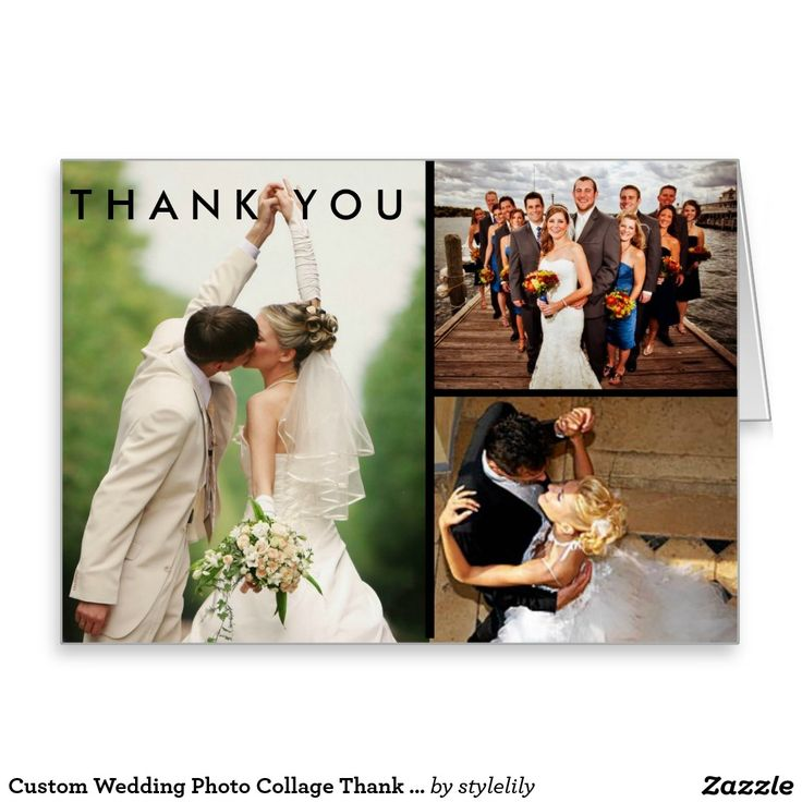 personalized wedding thank you notes%0A Custom Wedding Photo Collage Thank You Card
