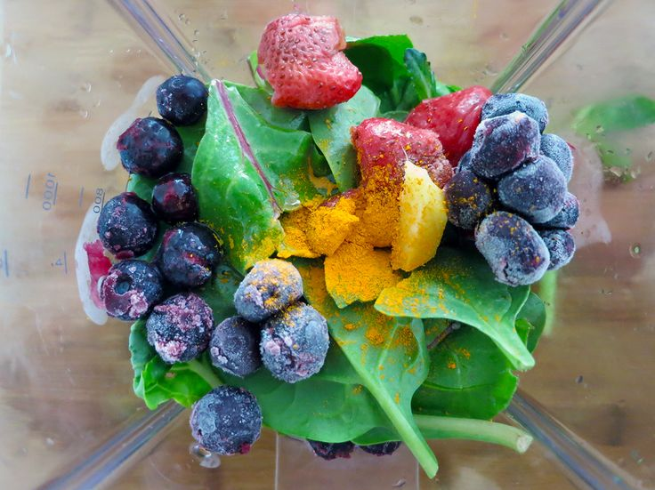 Rainbow Smoothie. Need healthy breakfast ideas? Try this smoothie recipe - spinach, kale, raspberries, blueberries, turmeric powder, ginger, avocado and yoghurt