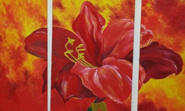 Flower red 3 - teilig