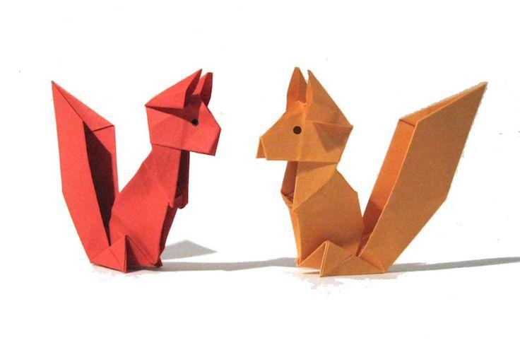 origami animaux mignons- écureuils en papier plié