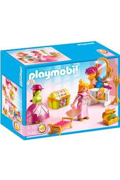 Playmobil Princess Kunglig Klädkammare I den kungliga klädkammaren finns allt man kan önska sig från Playmobil. Ett perfekt rum för att göra sig iordning inför den stora festen eller middagen på slottet. Med prinsessa, påklädningsdocka, sminkbord, pall, kista och tillbehör<br>Ålder: 4-10år.<br>Inte lämplig för barn under 3 år. Kvävningsrisk. Innehåller smådelar.