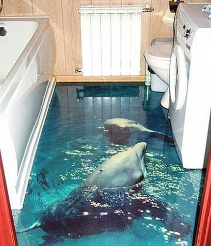 dolphins in blue water image for self leveling floor in bathroom. Really cool idea for a kids bathroom