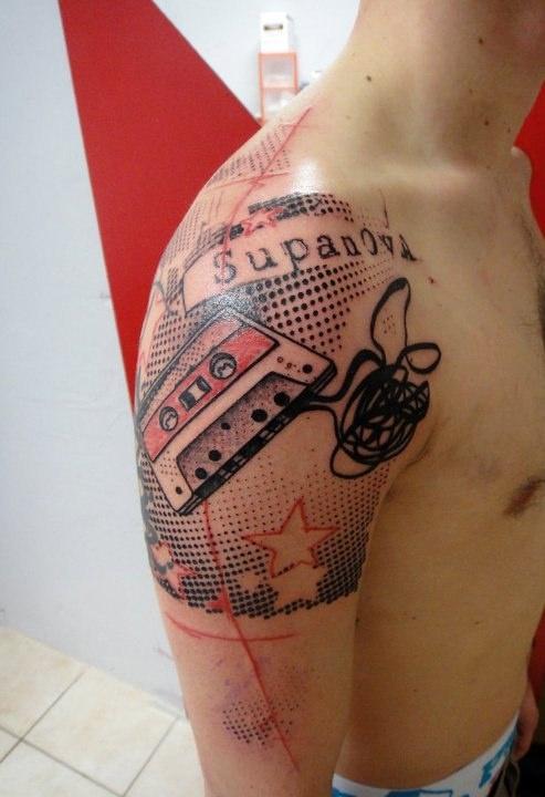 """Xoïl tattoo art  """"Supanova"""" cassette tape"""