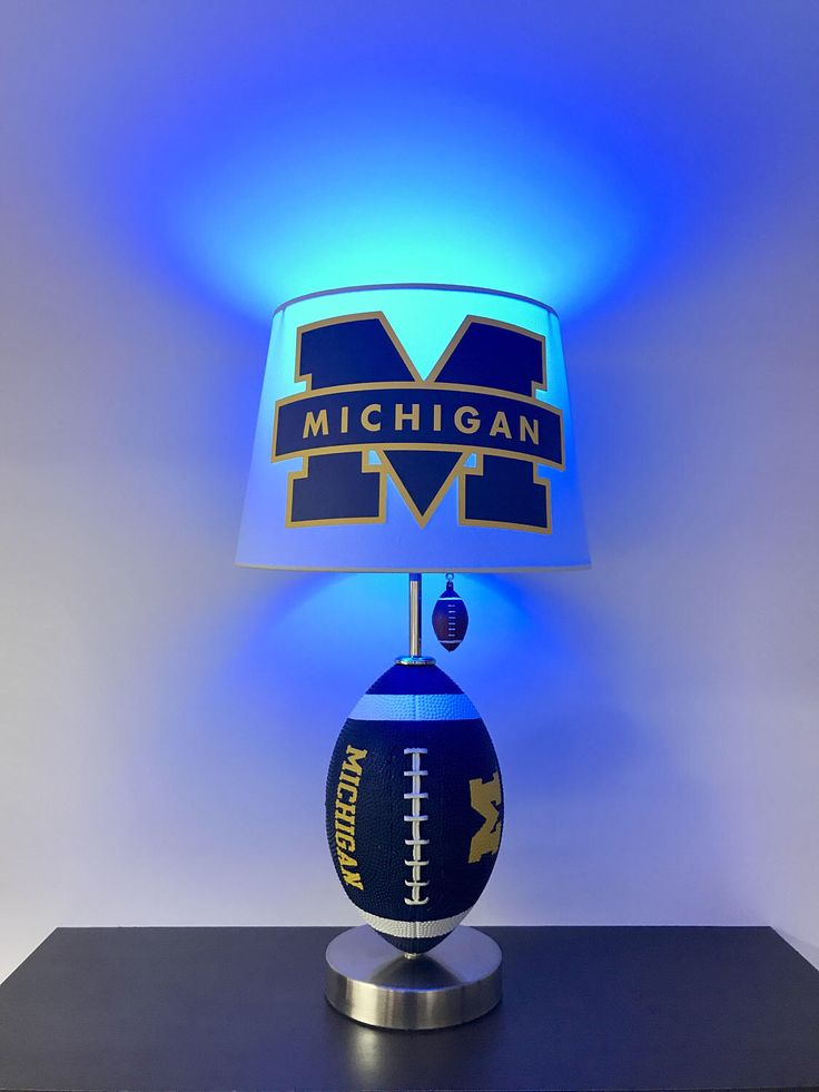 University of Michigan Football Lamp, NCAA, man cave, sports, Michigan Football Light, Blue and Yellow lamp, Michigan. Football, Football Light, Football lamps, handmade, home decor, kids room decor, boys room decor, college football, lamps, unique gifts, by CaliradoArt on Etsy https://www.etsy.com/listing/523887927/university-of-michigan-football-lamp