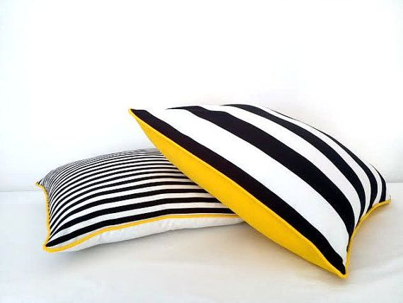 """Black and White Striped Throw Pillow Cover 24"""" by 24"""", Wide Black and White Stripes With Yellow Back, Beach Cushion Design"""