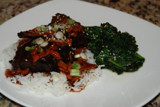Korean Style Short Ribs (Crock Pot) from Food.com: I'm always looking for new recipes to make in my crock pot. Here's another easy and tasty one. I finally got around to making this I used pork spare ribs. I cooked them longer till they were falling off the bone. The sauce has a very good flavor. My husband was pleasantly surprised at the flavor.I found this in Family Circle Magazine.