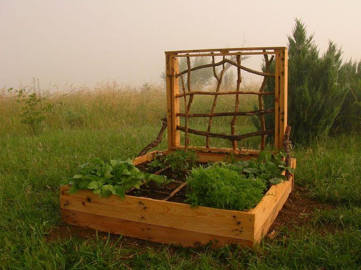 Potager en carr palettes recycl es traitement naturel co jardinage potager pinterest - Petit jardin potager carre ...